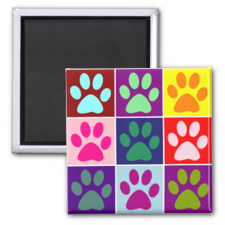 Multicolored Paws Square Magnet