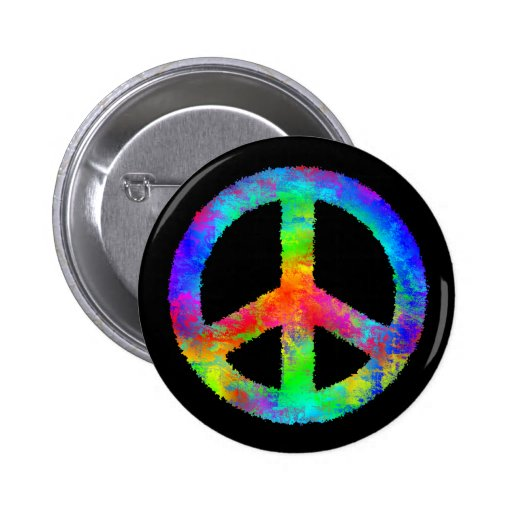 Multicolored Peace Sign Pinback Buttons
