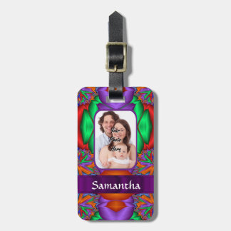 Multicolored personalized fractal luggage tag