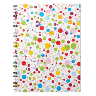 Multicolored points and circles spiral notebooks