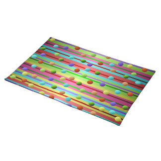 Multicolored Polka Dots and Stripes Placemat