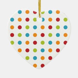 Multicolored Polka Dots Ceramic Heart Decoration