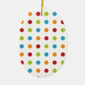 Multicolored Polka Dots Ceramic Oval Decoration