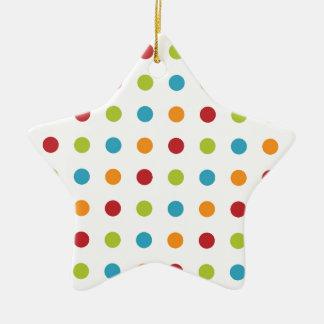 Multicolored Polka Dots Ceramic Star Decoration