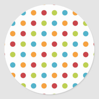 Multicolored Polka Dots Classic Round Sticker