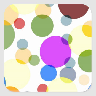 Multicolored Polka Dots Design Square Sticker