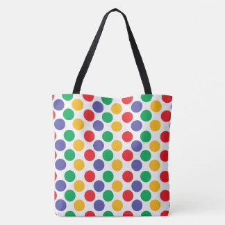 Multicolored Polka Dots Pattern Tote Bag
