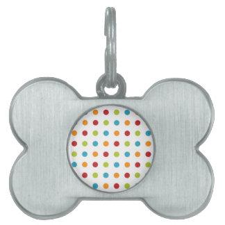 Multicolored Polka Dots Pet Name Tag
