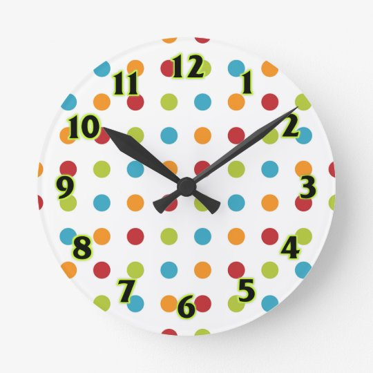 Multicolored Polka Dots Round Clock