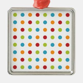 Multicolored Polka Dots Silver-Colored Square Decoration