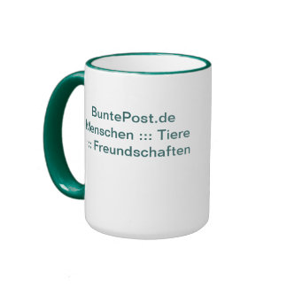 Multicolored post office cup ringer mug