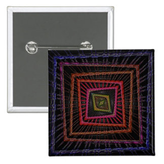 Multicolored psychedelic squares 15 cm square badge