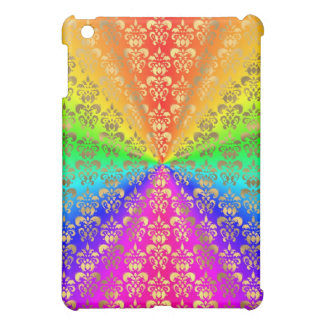 Multicolored rainbow colored damask cover for the iPad mini