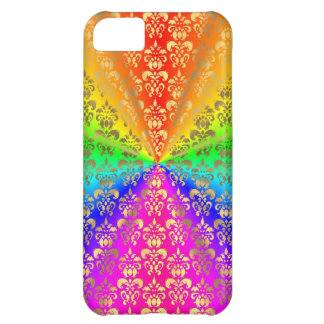 Multicolored rainbow colored damask iPhone 5C case