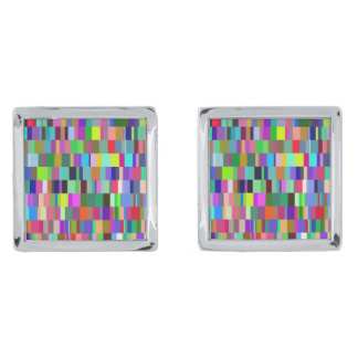 Multicolored Rectangles Abstract Pattern Silver Finish Cufflinks