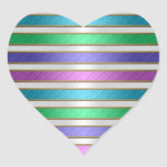 Multicolored Ribbons Stripes in Pink Blue Purple Heart Stickers