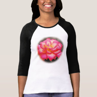 Multicolored Rose T-Shirt With Black Sleeves