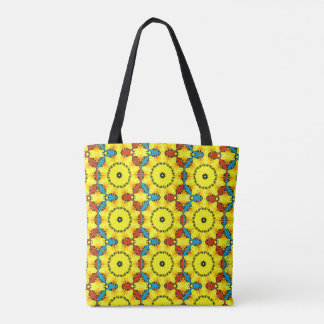 Multicolored Rosette Tote with Yellow Background