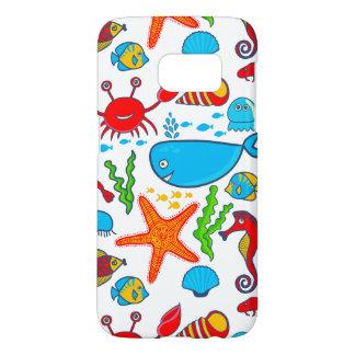 Multicolored Sea-Life Illustration Pattern
