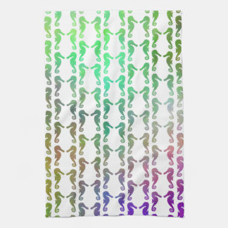 Multicolored Seahorse Pattern Tea Towel