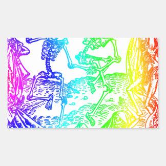 Multicolored Skeleton Dance Rectangular Sticker