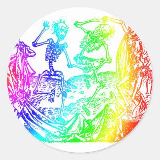 Multicolored Skeleton Dance Round Sticker