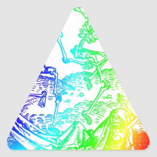 Multicolored Skeleton Dance Triangle Sticker