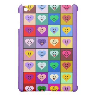 Multicolored Smiley Hearts iPad Mini Cases