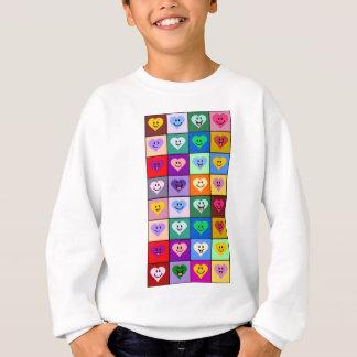 Multicolored Smiley Hearts Sweatshirt