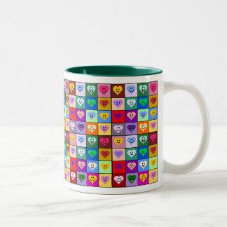 Multicolored Smiley Hearts Two-Tone Mug