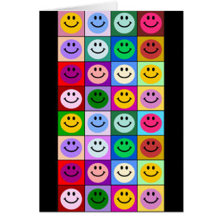 Multicolored Smiley Squares Greeting Card