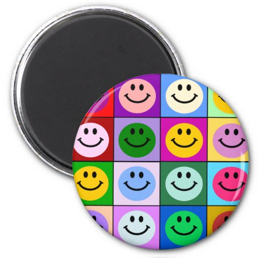 Multicolored Smiley Squares Fridge Magnet
