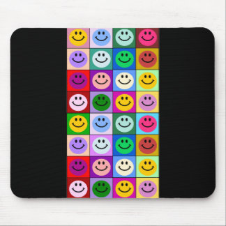 Multicolored Smiley Squares Mouse Mat