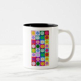 Multicolored Smiley Squares Two-Tone Coffee Mug