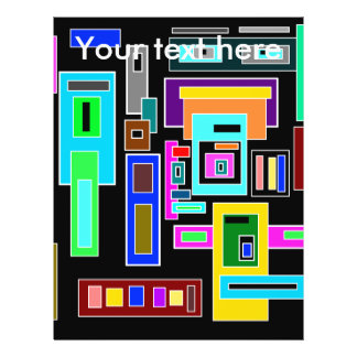 Multicolored squares and rectangles on black 21.5 cm x 28 cm flyer