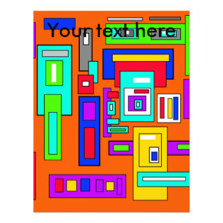 Multicolored squares and rectangles on orange 21.5 cm x 28 cm flyer