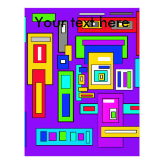 Multicolored squares and rectangles on purple 21.5 cm x 28 cm flyer