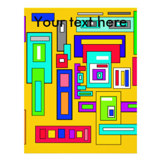 Multicolored squares and rectangles on yellow 21.5 cm x 28 cm flyer