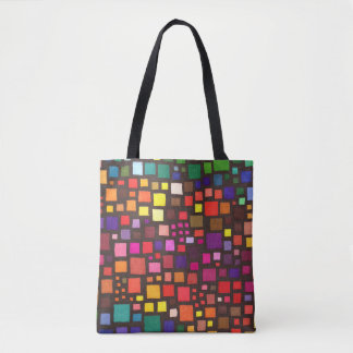 Multicolored Squares Pattern Tote Bag
