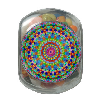 Multicolored Stained Glass Kaleidoscope Candy Jar Glass Jars
