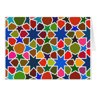 Multicolored Star Pattern - Silk Painting inspired Card