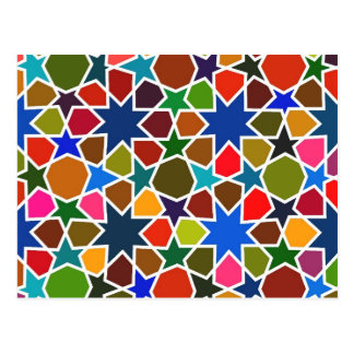 Multicolored Star Pattern - Silk Painting inspired Postcard