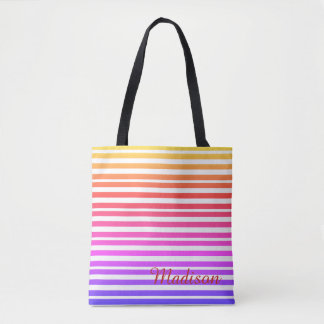 Multicolored Striped Beach Personalized Yellow Red Tote Bag
