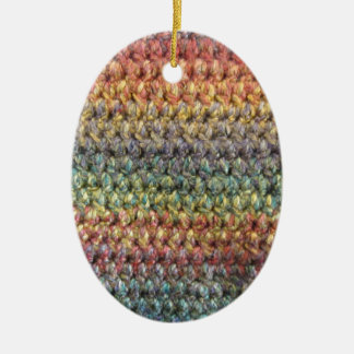 Multicolored striped knitted crochet christmas ornament