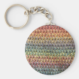 Multicolored striped knitted crochet key ring
