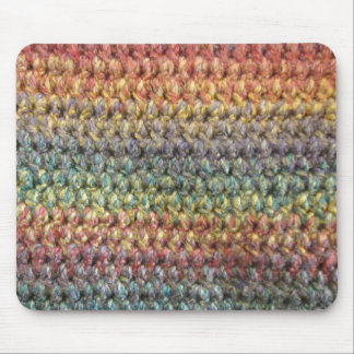 Multicolored striped knitted crochet mouse mat