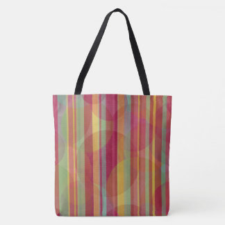 Multicolored stripes and circles tote bag
