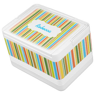 Multicolored Stripes & Personalized Igloo Cool Box