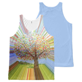 Multicolored Stripy Autumn Tree Art All-Over Print Tank Top