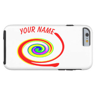 Multicolored swirl. Add your text. Tough iPhone 6 Case